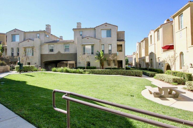 Corte Bella  , San Marcos , California, blue sky, stone bench