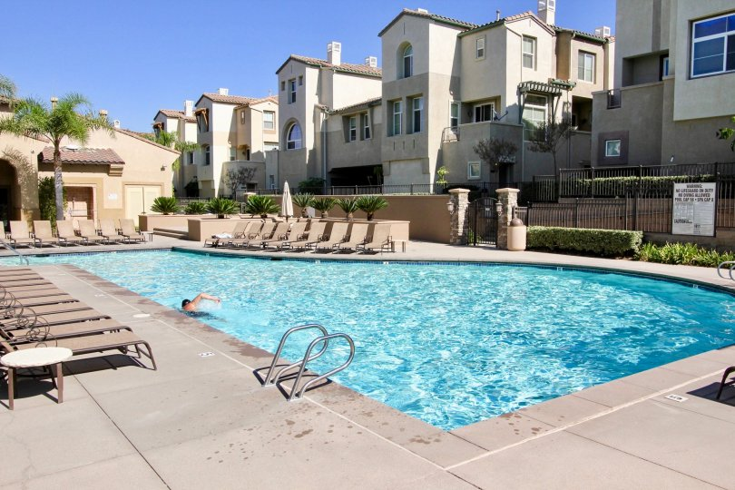 A sunny day at the apartment complex pool in San Marcos, CA