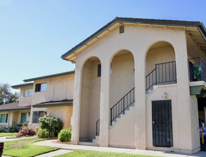 Two story housing with four pillars in Lake Park Villas in San Marcos CA