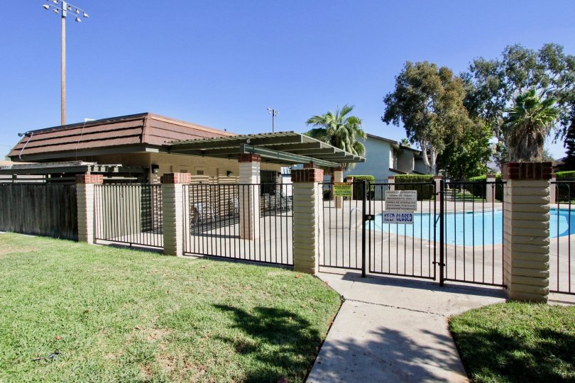 A sunny day at the pool in Lake Park Villas in San Marcos, California