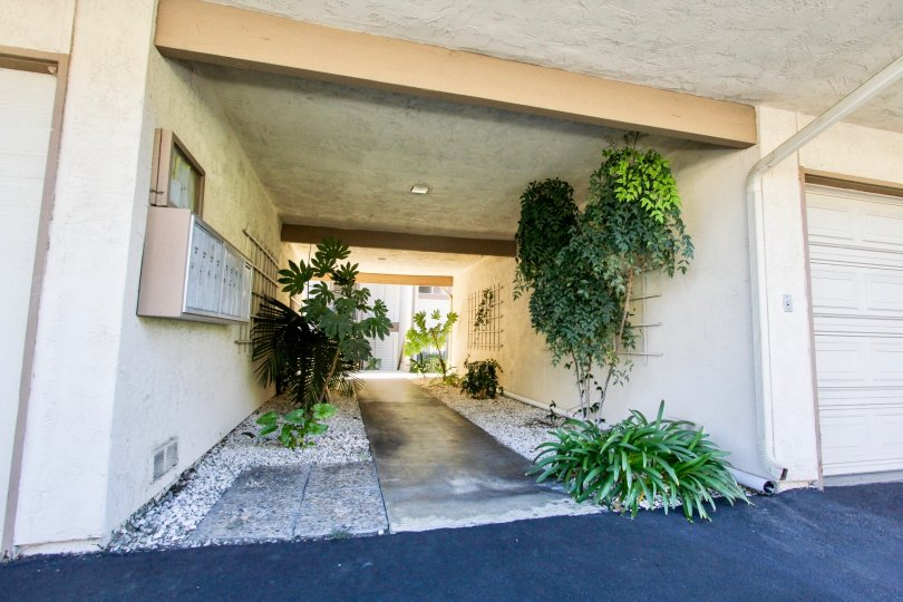A ground level walkway under housing units in Lake San Marcos Condos community.