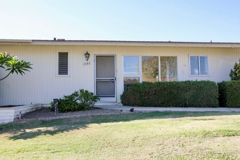 A very simple and plain bungalow in Lake San Marcos Villas neighborhood.