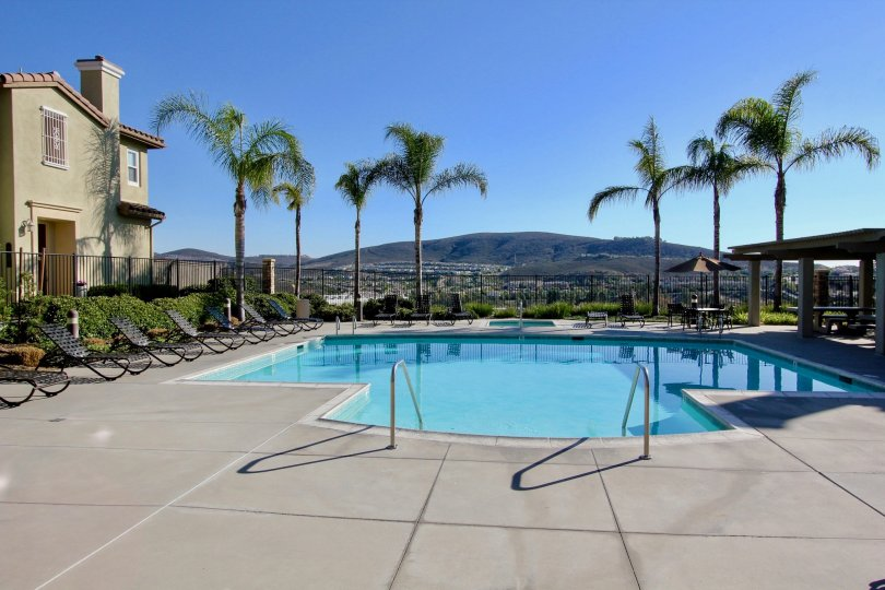 Giant pool overlooking a valley at Larkspur Heights in San Marcos CA