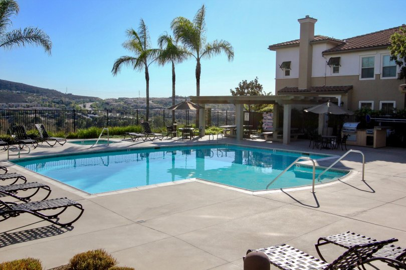 Gorgeous pool overlooking a valley at the Larkspur Heights in San Marcos CA