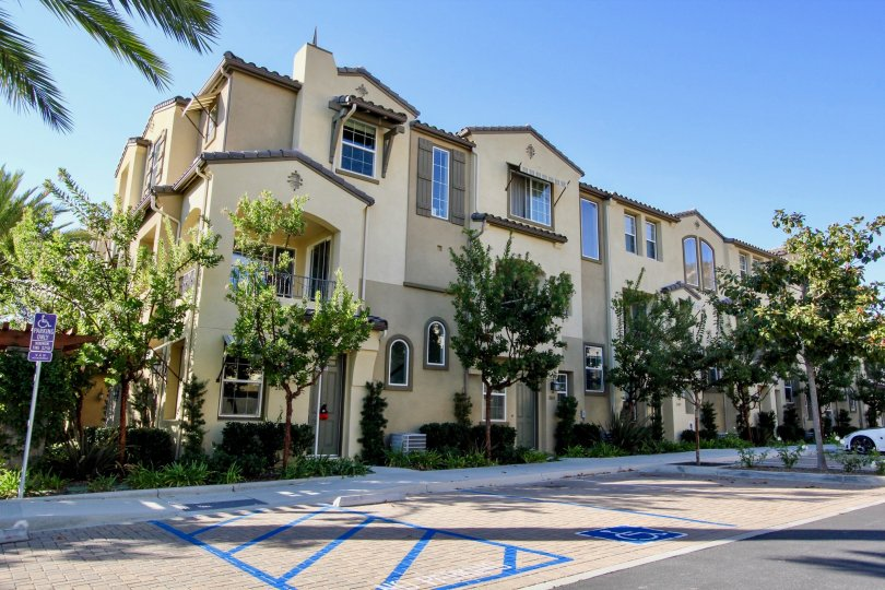 A sunny day at Laurel Community that showcases the beautiful architecture of the community in San Marcos, California