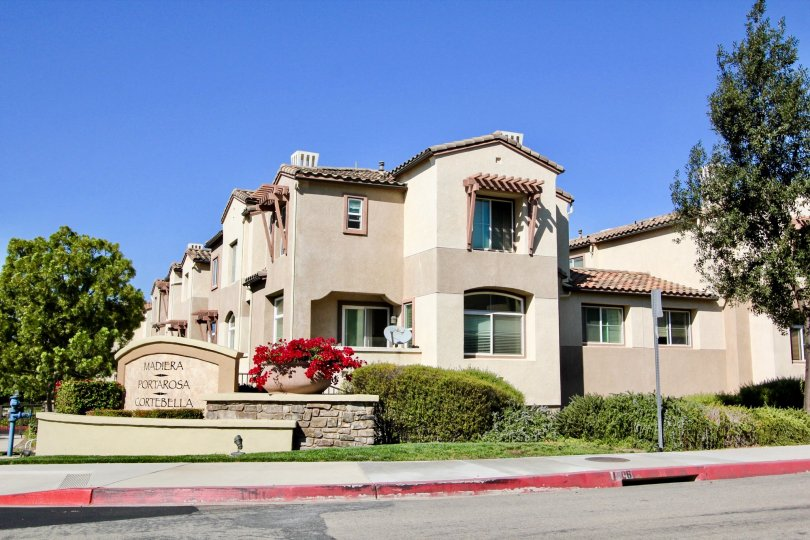 Blue sky with side view of Madiera community, San Marcos, CA