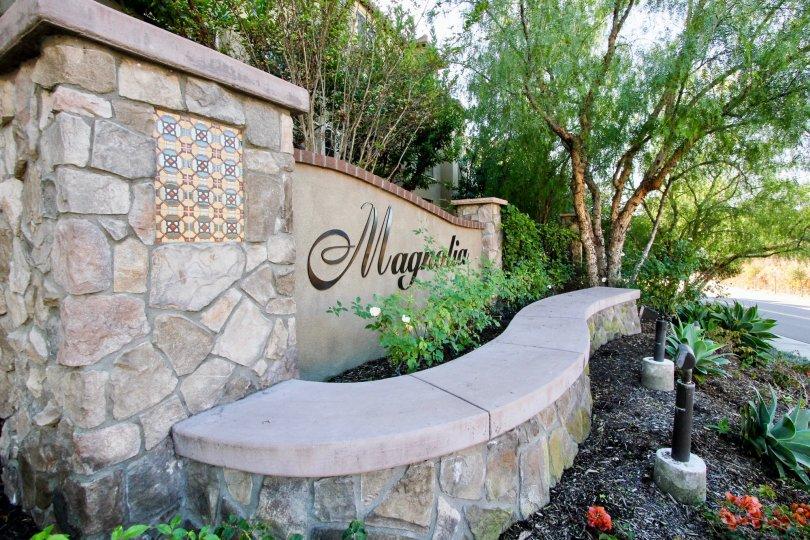 Entrance signage of the Community of Magnolia, San Marcos, California