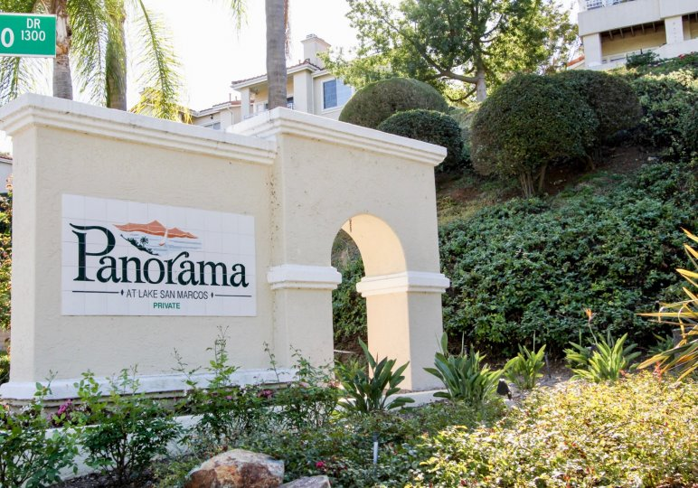Panorama sign outside of the Panorama community in San Marcos CA