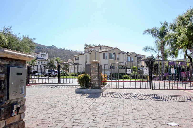 Front view entrance with gates and two way road of Savona.