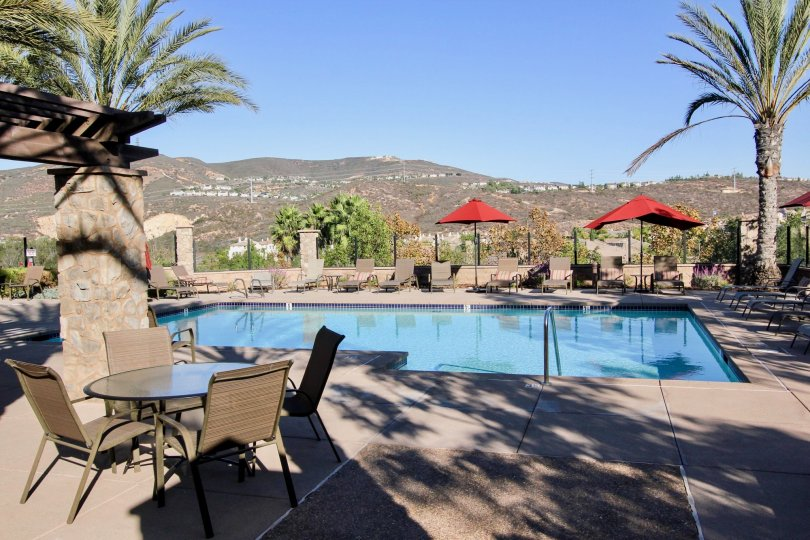 Pool over looking a huge valley at Solaire in San Marcos ca