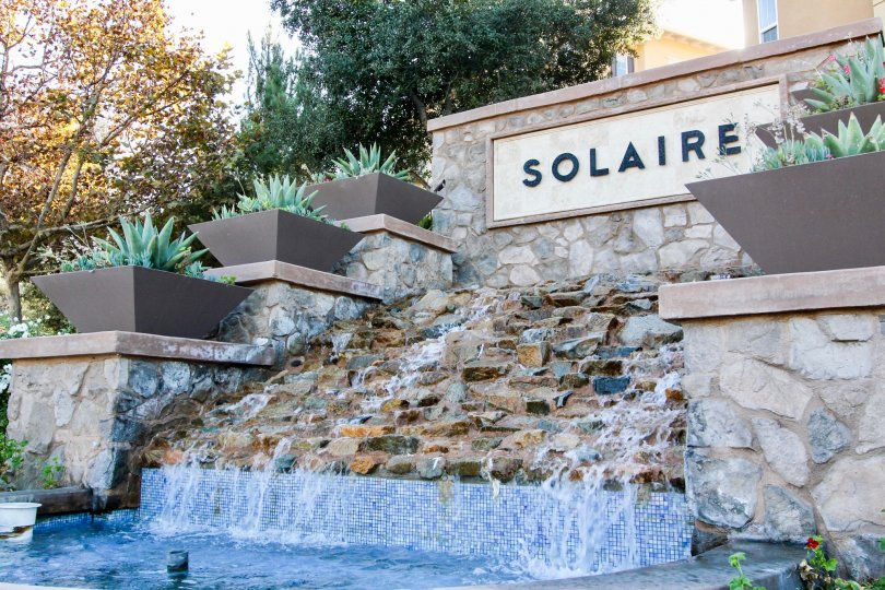 Huge waterfall fountain in front of Solaire in San Marcos CA