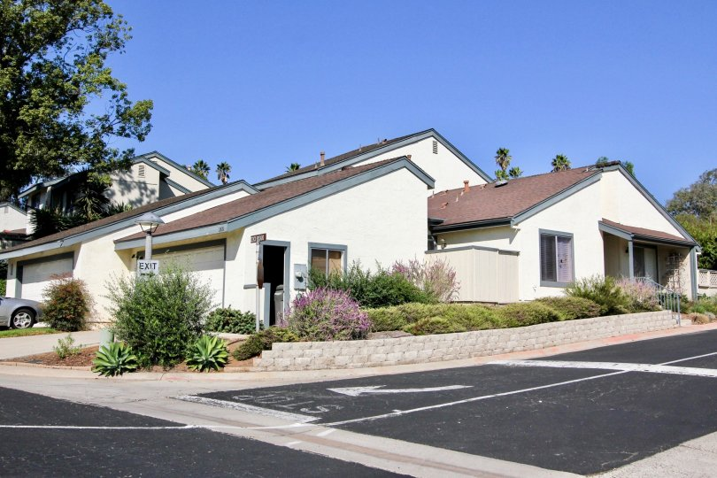 Paved gray street with white paint in Vallecitos Townhomes in San Marcos CA