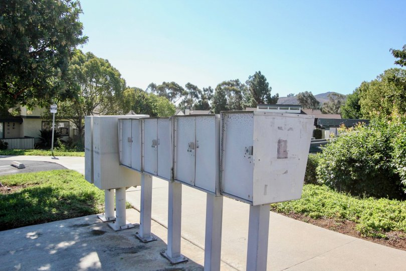 Four mailboxes in Vallecitos Townhomes community of San Marcos CA
