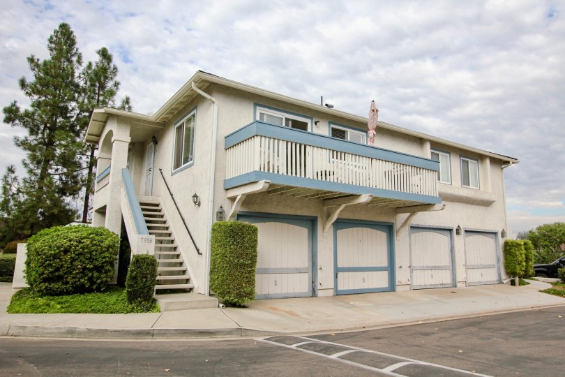 A view of an apartment-like building in the Mission Martinique community in Santee, California