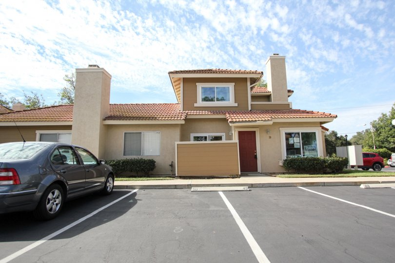 A front view of an office-like building in the Riderwood Meadows community of Santee, California