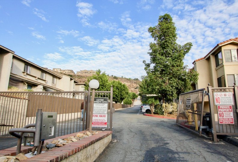 Entrance to the community of Towne Villas, Santee, California