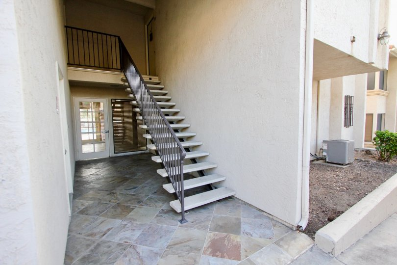 A view of some apartment stairs in the Towne Villas community of Santee, California