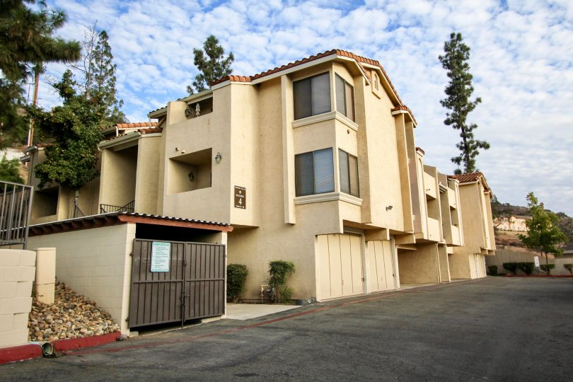 Three story residential buildings at Towne Villas in Santee California