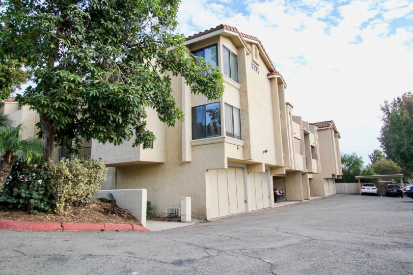Driveway next to three story residential complex at Town Villas in Santee California