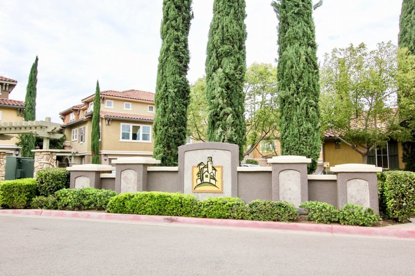 The outside entrance of a Treviso community in Santee CA.