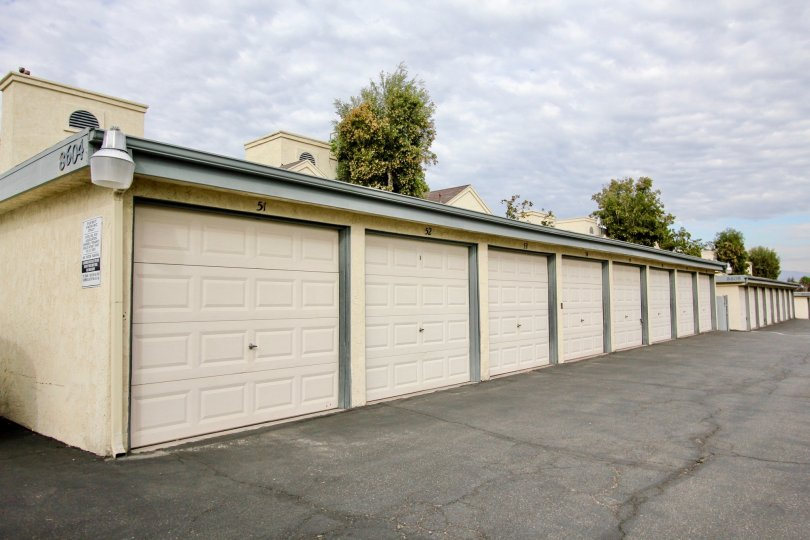 Row of enclosed garage units at Vista Del Rio in Santee, CA