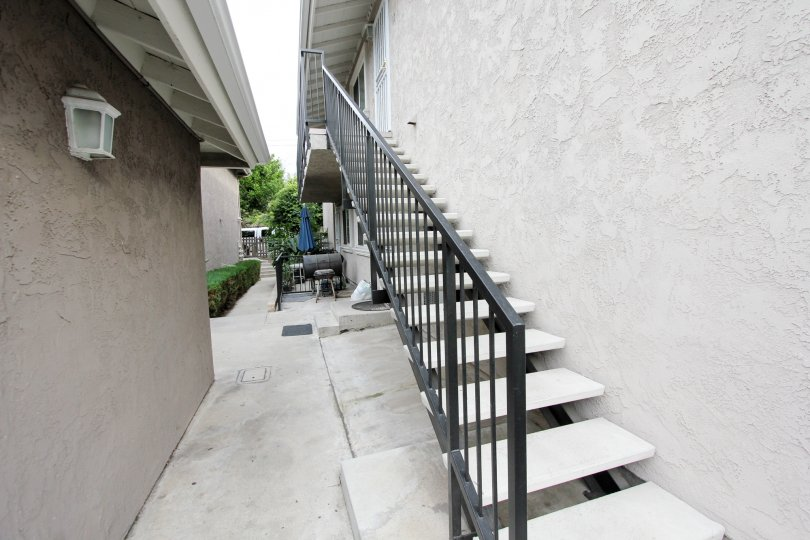A view of some stairs in the Buena Vista Condominiums in Spring Valley, California
