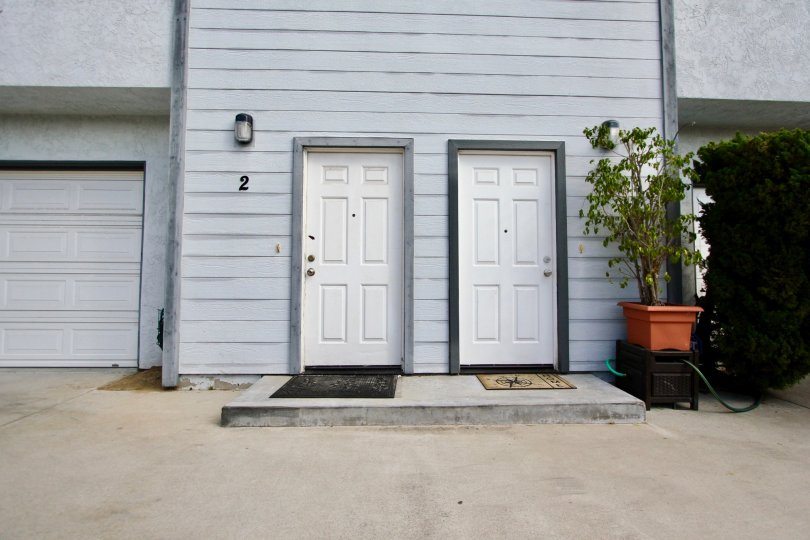 Goodland Acres ,: Spring Valley, California, white door,potted plant