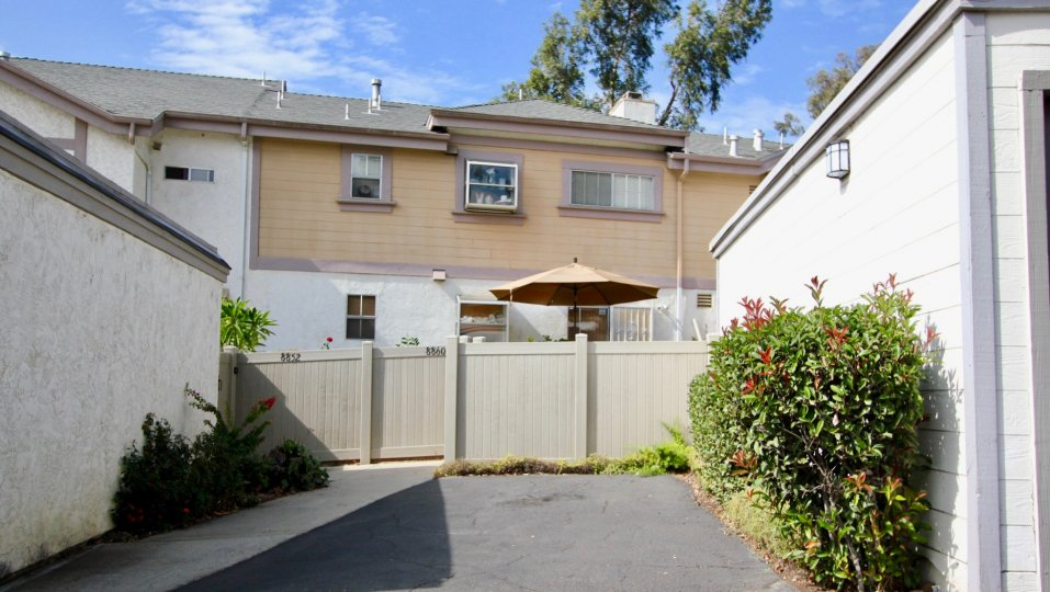 A two-storey multi-color townhouse in the Spring Canyon neighborhood.