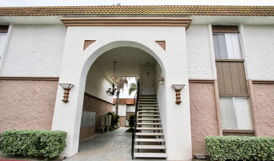 Arched entrance for a residential building at Terraza in Spring Valley California