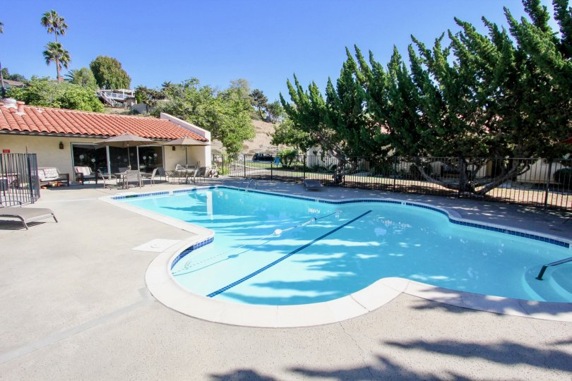 Swimming pool near clubhouse at Bel Air Vista in Vista California