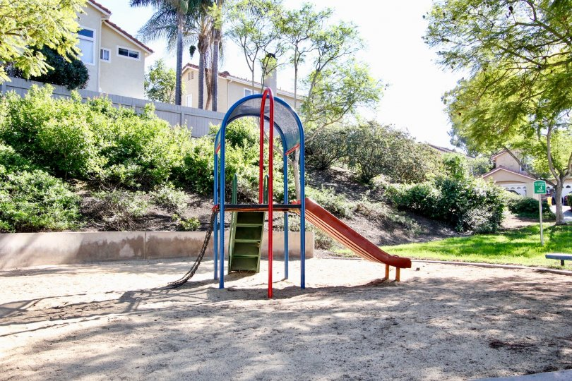 A sunny day in the kids play area of the California Capri community park.