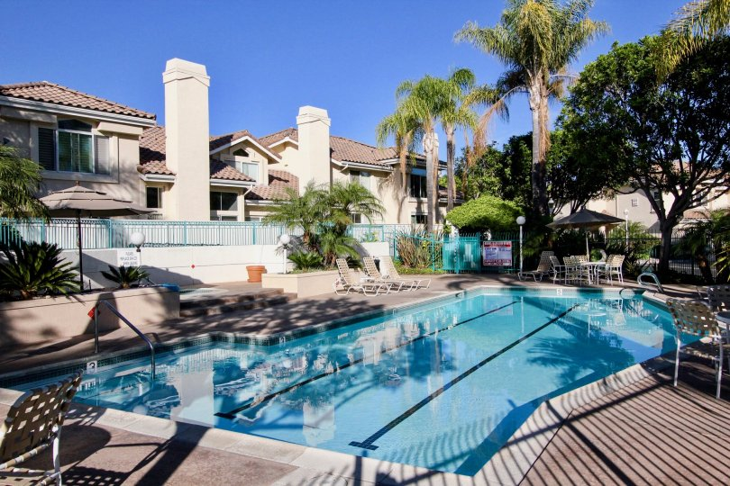 Swimming pool surrounded by residential units at Calypso in Vista California
