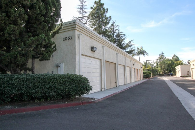 Storage facility with garage doors provide easy access at the Charlemont community in Vista, California