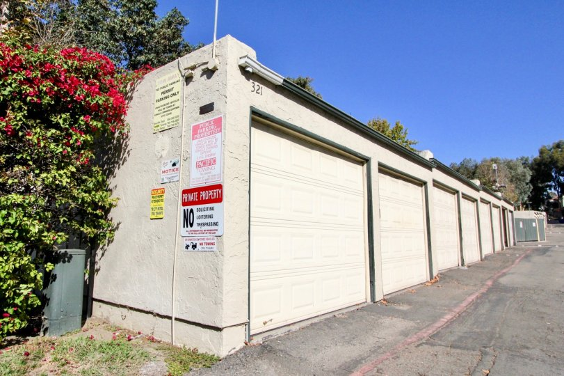 Alleyway with garages at Melrose Park in Vista California