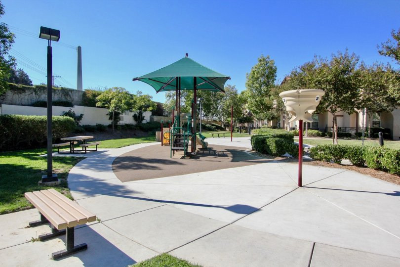 Playground in sand at Santa Fe Walk in Vista California