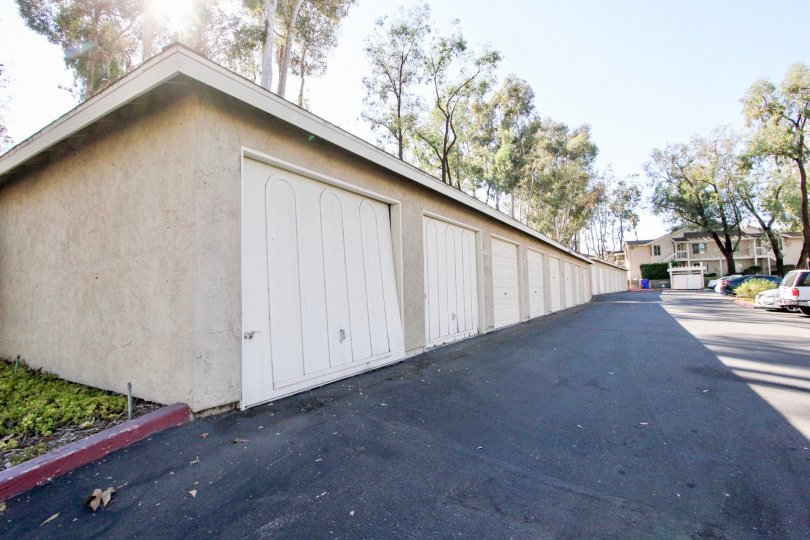 Garages near parking lot at The Park in Vista California