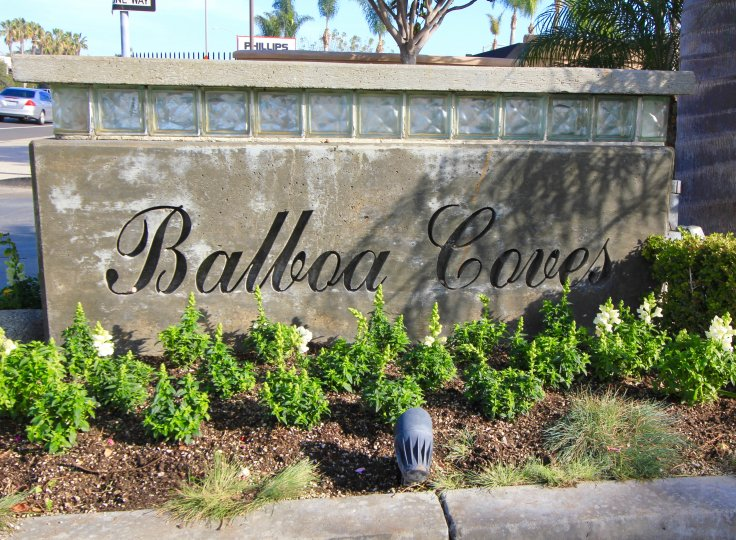 entrance marquee to Balboa Coves, Newport Beach CA