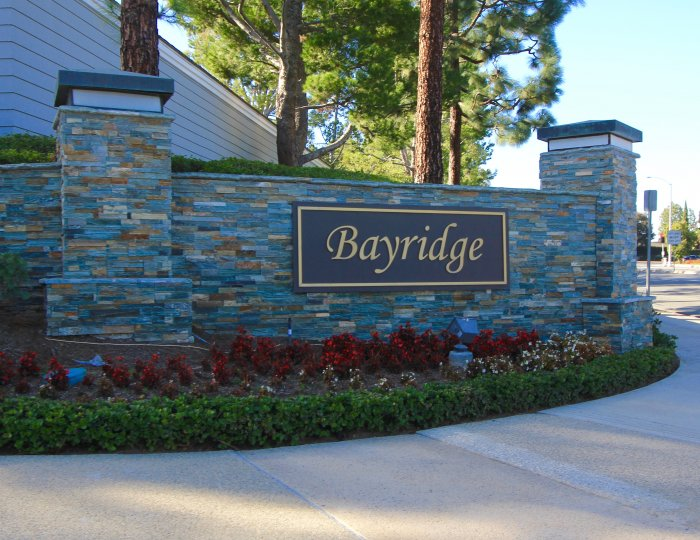 Marquee at entrance to the community of Bayridge, Newport Beach CA
