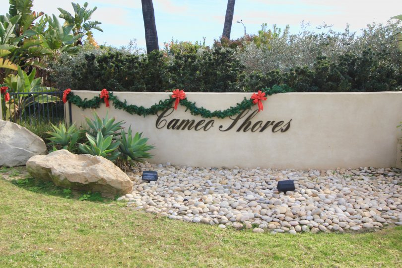 Sign and marquee for entrance to Camino Shores Corona Del Mar CA