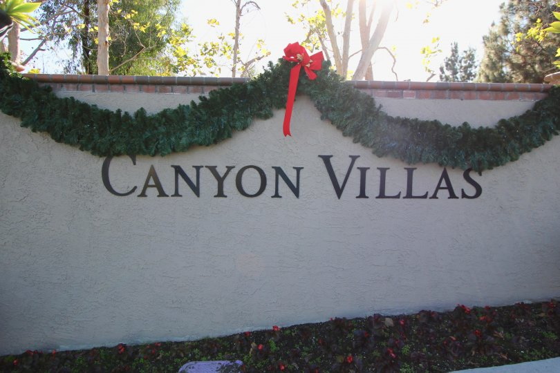 Sign at the entrance of Canyon Villas in Aliso Viejo Ca
