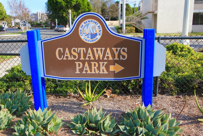 Park sign leading into common area in Castaways, Newport Beach CA