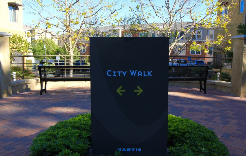A Sign at the entrance of City Walk in Aliso Viejo