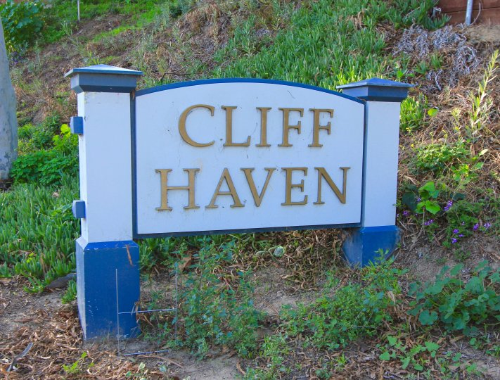 Entrance marquee to the community of Cliffhaven, Newport Beach CA