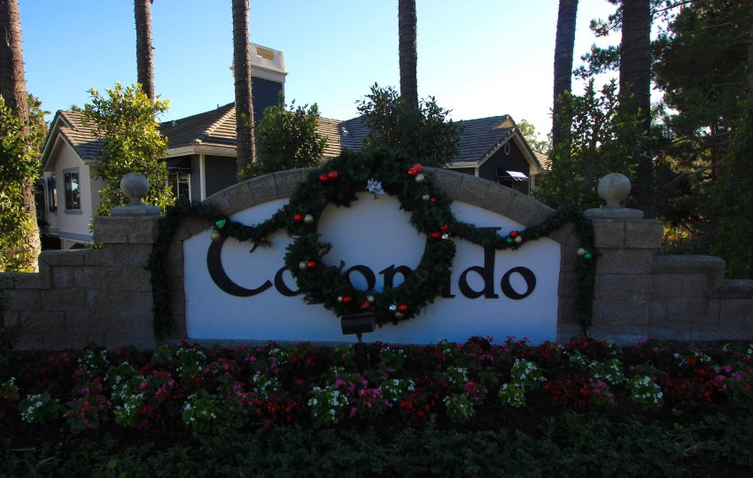 Sign at the entrance of Coronado in Aliso Viejo Ca