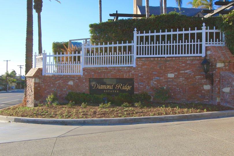 Diamond Ridge Estates Community Marquee in Dana Point Ca