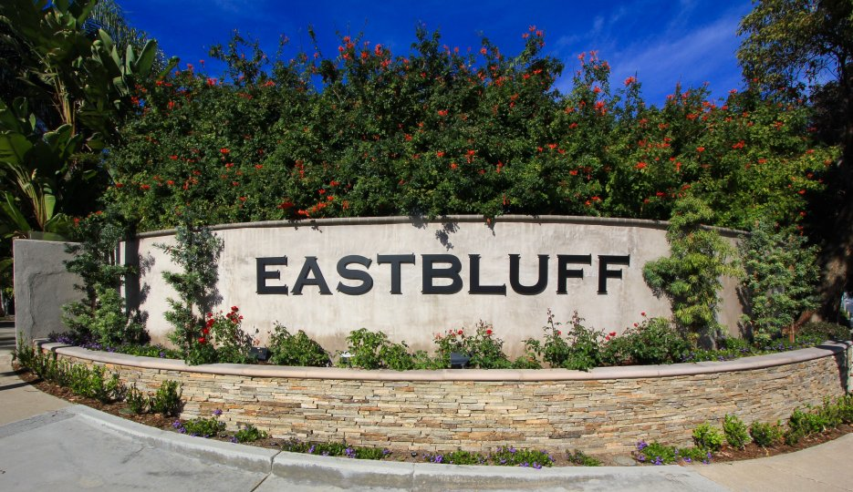Entrance marquee to the community of Eastbluff, Newport Beach CA