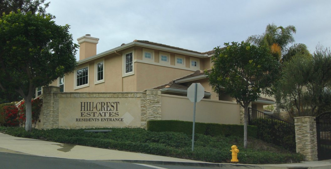 Entrance and marquee sign to Hillcrest Estates, Laguna Niguel CA