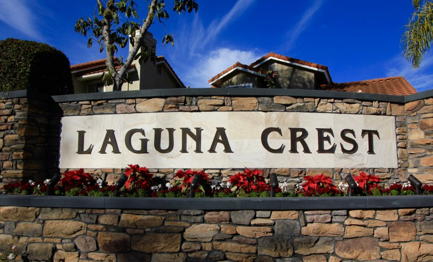 Front side and entrance marquee to Laguna Crest, Laguna Niguel CA