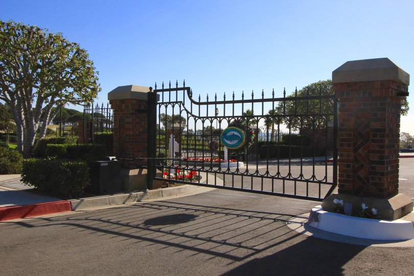 The entrance to Lantern Bay Villas in Dana Point is gated