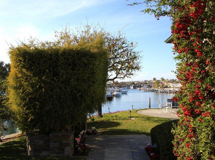 Park area with bay in Linda Isle, Newport Beach CA
